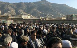 مراسم جنازۀ دو تن از قربانیان رویداد تروریستی روز دوشنبه در کابل. چهل ستون، گورستان ملا بزرگ