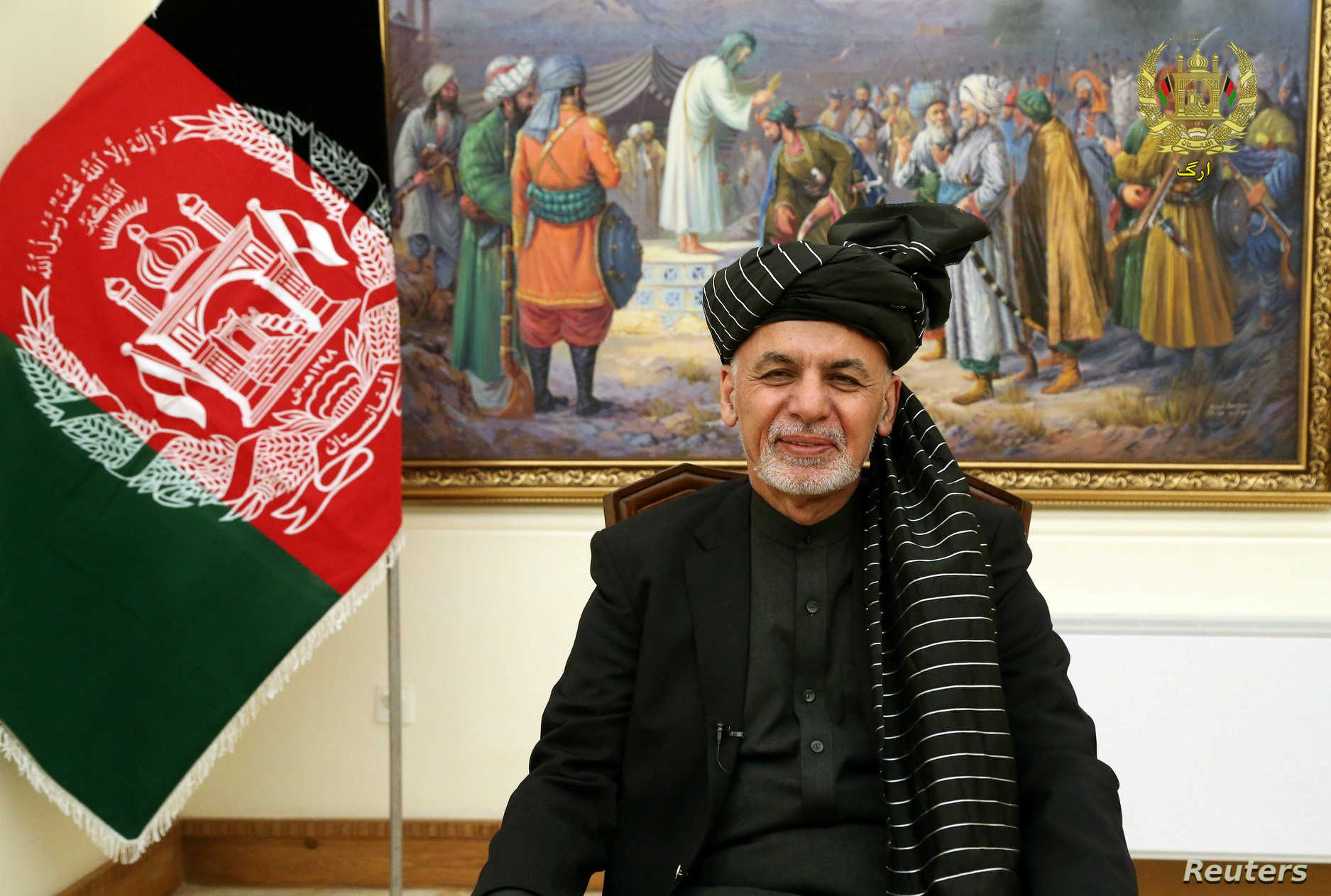 Afghanistan's President Ashraf Ghani speaks during a live TV broadcast at the presidential palace in Kabul, Afghanistan January 28, 2019. Presidential Palace office/Handout via REUTERS NO RESALES. NO ARCHIVE - RC142B0FF7F0