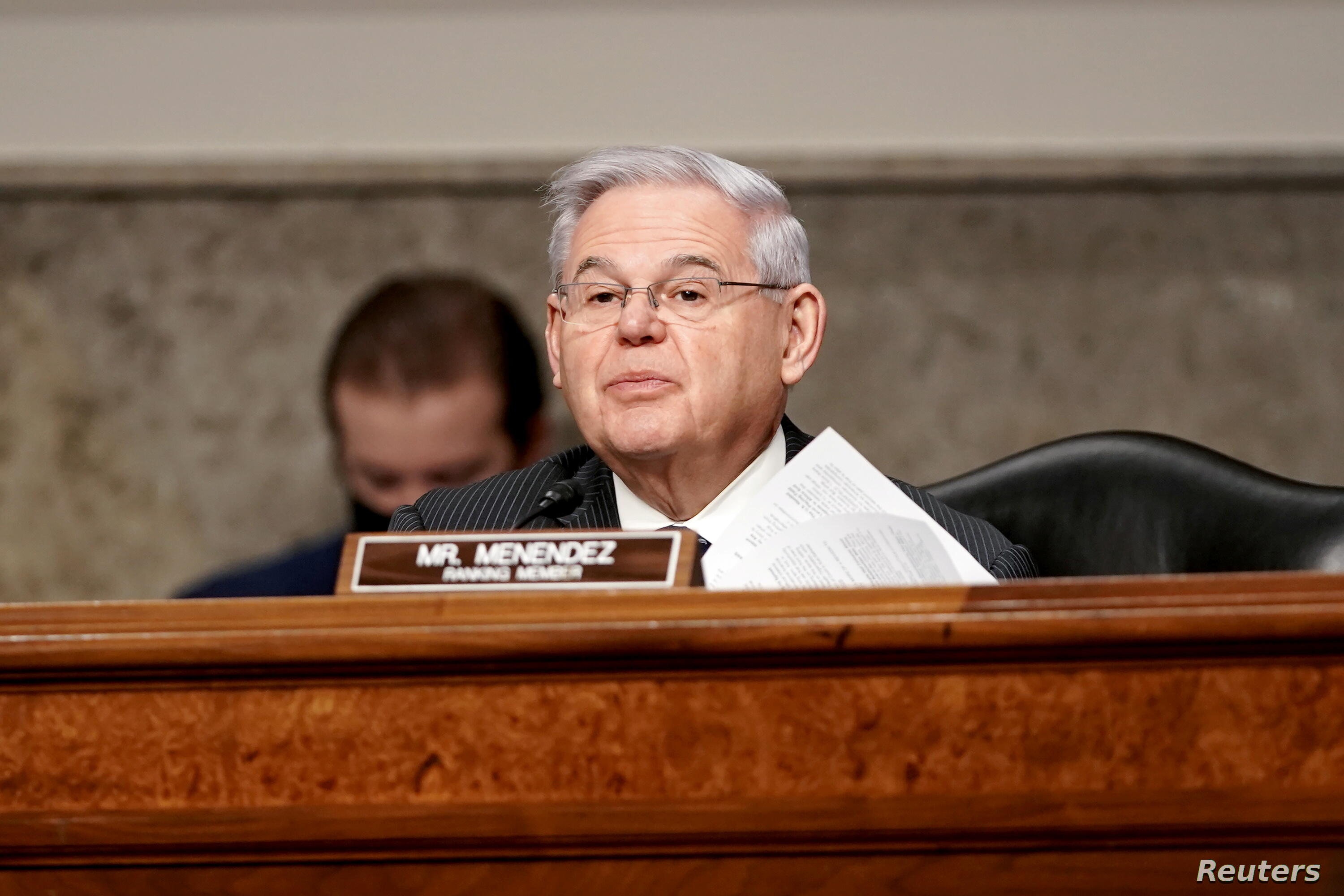 U.S. Senator Robert Menendez (D-NJ) speaks during the Senate Foreign Relations Committee hearing on the nomination of Linda Thomas-Greenfield to be the United States Ambassador to the United Nations, on Capitol Hill in Washington, D.C., U.S., January 27, 2021. Greg Nash/Pool via REUTERS